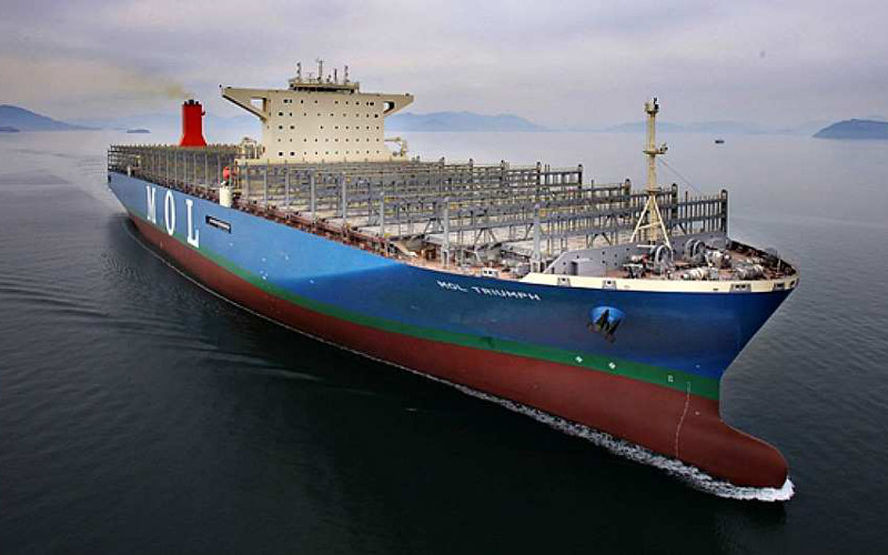 Mol triumph plus gros porte conteneurs au monde en route - Le plus gros porte conteneur du monde ...